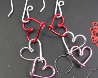 earrings, 3 hearts on hooks