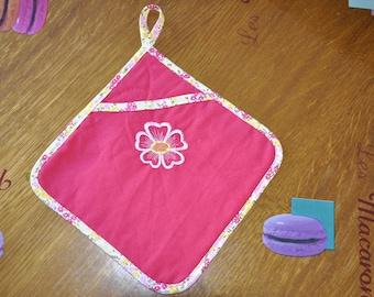Fuchsia flower embroidery kitchen pot holder