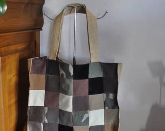 Patchwork camouflage, burlap and floral lining fabric tote bag
