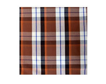 3 meters of dyed Brown Plaid cotton fabric coupon