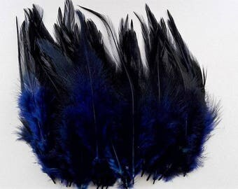 set of 10 feathers Midnight blue shade 10-15cm
