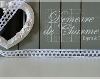 Wide white crochet lace Ribbon 1.2 cm