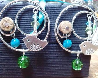 Natural, silver bird hoop earrings