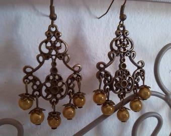 Yellow and bronze chandelier earrings