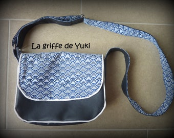 Navy Blue imitation leather Messenger bag with Japanese blue white patterned lining