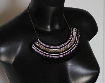 "Necklace ""Ethnik"" chic beaded crochet"