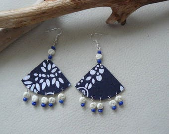 """Oriental"" beads and fabric earrings"