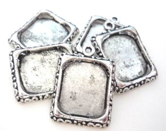 Set of 5 medallions silver color (small rectangle)