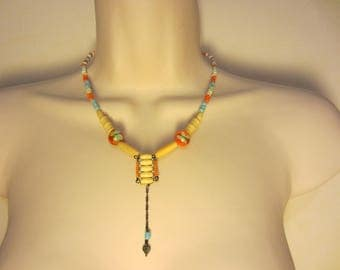 Blue and Orange Native American style necklace