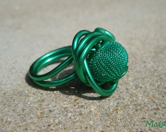 Emerald green, Adjustable ring, emerald green aluminum wire, metal look, wedding