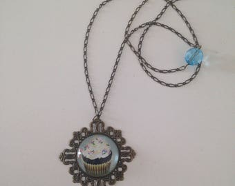 """Necklace cabochon """"its whipped Blueberry cupcake"""""""