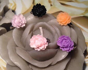 Ring cabochon resin flower