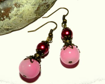 Victorian style pink and Burgundy earrings