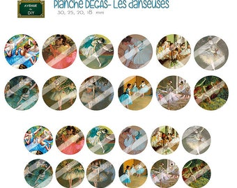Digital collage sheet Edgar Degas for creation (30, 25, 20 round cabochons