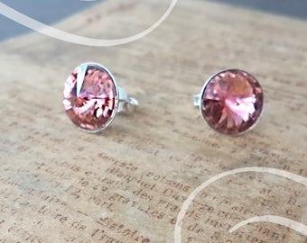 Swarovski bullet earrings 12 mm Blush Pink Silver 925