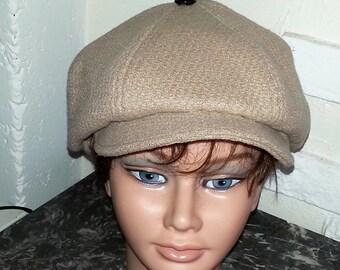 Newsboy cap beige wool lined Plaid Brown