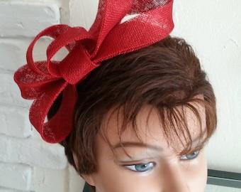 Red sinamay bow fascinator brick