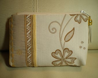 small cosmetic case in toilea motifs and velvet