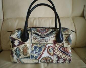 Fabric handbag style ethnic leather handles