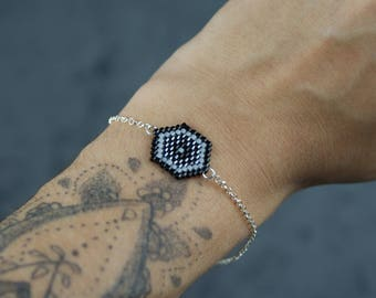 Black Hexagon Bangle Bracelet with 925 sterling silver chain
