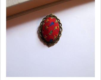 """Fabric brooch vintage red little Tulip """"skewer me"""""""