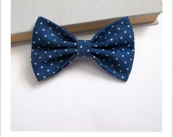 Bow tie and clip in hair 2 in 1 blue jeans with polka dots