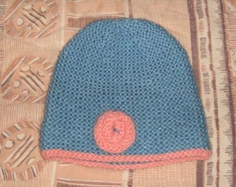New hand knitted beanie blue and pink