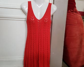 Red sundress t. 38 hand knitted