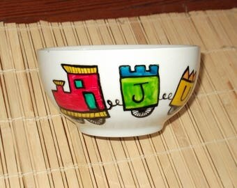 """train"" Bowl hand painted personalized"