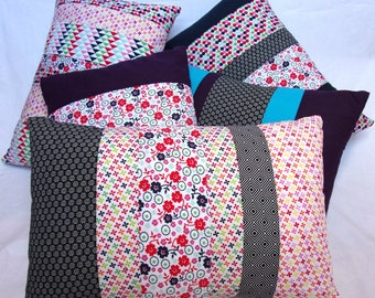 Printed floral and graphic patchwork pillow