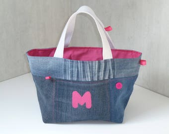 Hot pink denim patchwork blue M, lined with cotton fabric basket