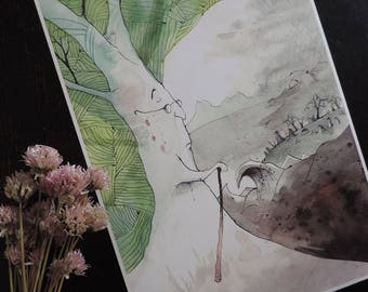 """illustration - Print Watercolour/watercolor - A4 size - """"The forest from the tip of the world 2"""""""