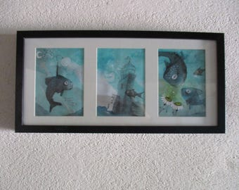 Fishy universe - fish in blue triptych - framed landscape painting