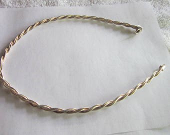 Vintage Italian Sterling Silver Thick Heavy Rope Twist Choker Necklace