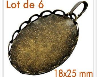 Set of 6 lace pendants 18x25mm Antique Bronze cabochon