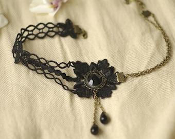 Black Lace Gothic necklace retro vintage lolita ceremony