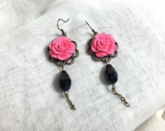 Resin pink rose Bohemian earring