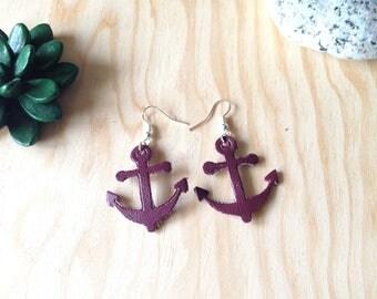 Earrings leather - anchor earrings Navy Burgundy leatherette