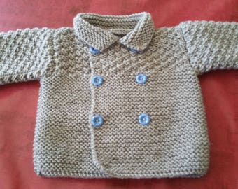 Light grey hand knitted Cardigan