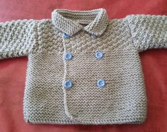 Light grey hand knitted Cardigan
