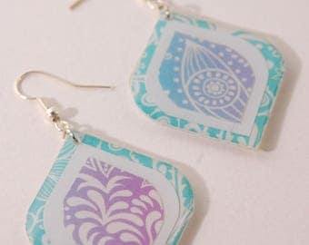 Ombre, blue and purple earrings, rounded square