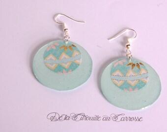 Pattern, green and Mint earrings
