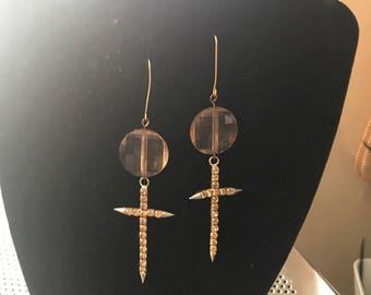 Brass Cross Earring