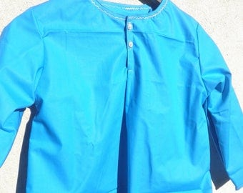 Royal blue tunic/blouse 8 sleeves long neckline embroidery round