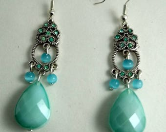 Bohemian earrings drop Pearl blue