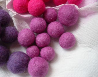 set of 10 pink felted wool beads