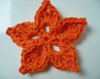 crochet flower, orange, sewing or craft, applique flower crochet applique, applique