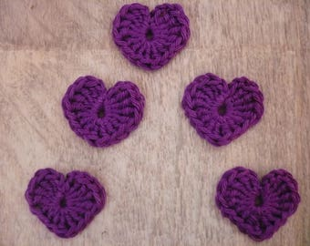 crochet hearts, set of 5 purple cotton