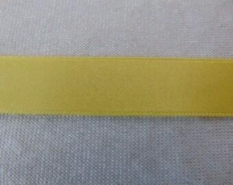 Satin ribbon, double-sided, lemon yellow (S-235)