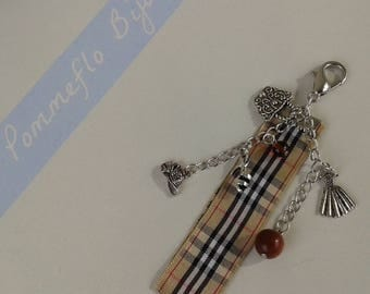 """""""Fashionista"""" bag charm: Ribbon, silver charms and beads"""